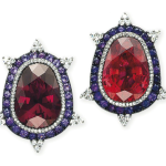 JAR earclips of garnet, tourmaline, amethyst and diamond, 1995