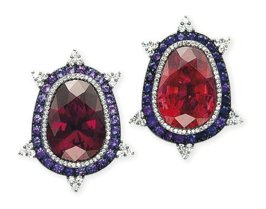 JAR earclips of garnet, tourmaline, amethyst and diamond, 1995