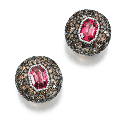 JAR spinel and diamond earclips