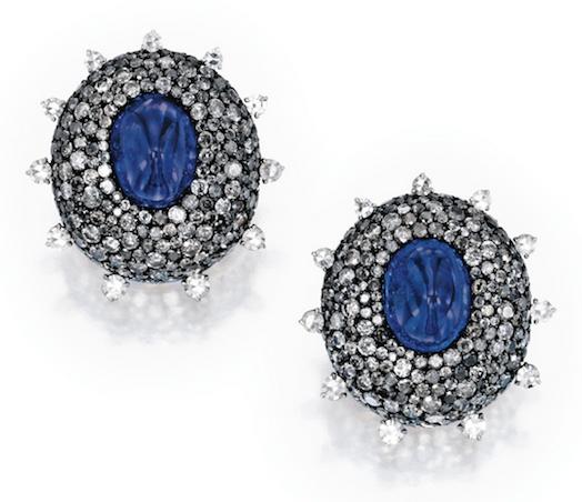 JAR sapphire diamond earclips