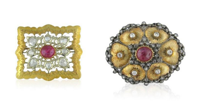 Buccellati brooches of ruby, diamond, gold