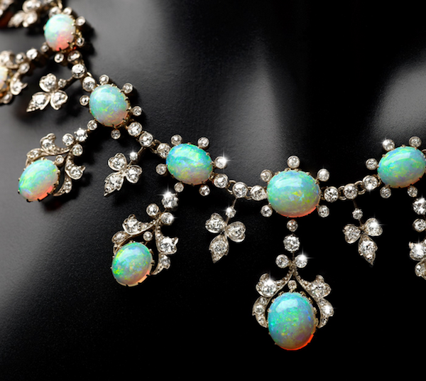 Necklace of opals and diamonds set in silver and gold, late 19th century (Fellows Auction House, London)