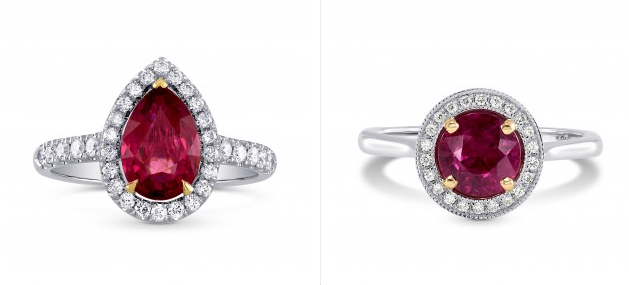 Ruby rings with diamond surround