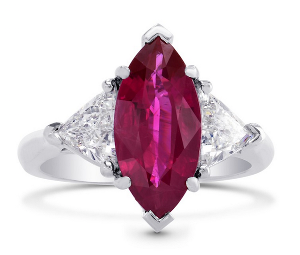 Marquise-shaped ruby ring