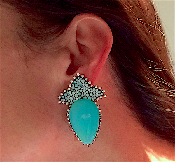 JAR ear clips of blue opal, zircon and diamond (photo ©Cathleen McCarthy/The Jewelry Loupe)
