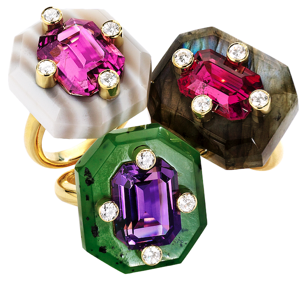 Duo rings by Nicholas Varney of labradorite, nephrite, agate paired wtih pink tourmaline, amethyst, and diamond