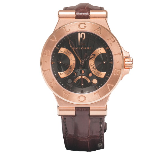 Bulgari rose gold Diagono watch