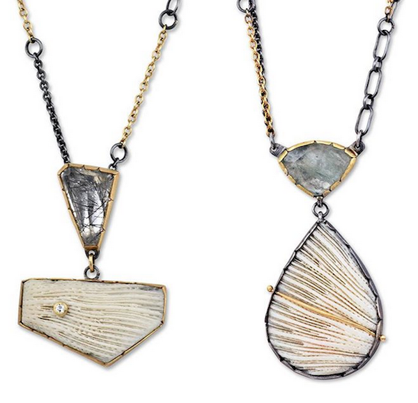 Necklaces of coral, tourmalated quartz and aquamarine in silver by Janine Decresenzo