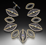 Necklace by Megan Clark of stingray, 18k gold, silver, sapphire, and diamonds