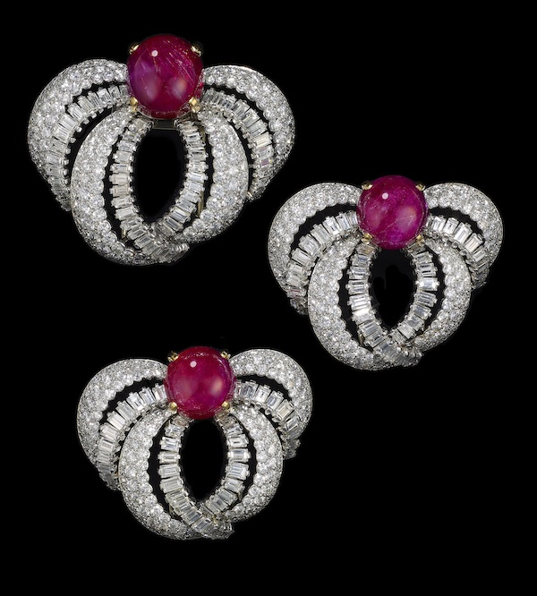 Set of three clip brooches worn by HSH Princess Grace of Monaco