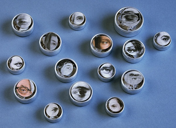 Brooches by Suska Mackert Augen since 2005, of newspaper images, cardboard, steel (collection of artist and others)