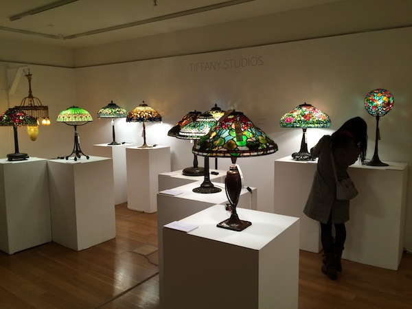 Tiffany lamps at Christie's (photo Cathleen McCarthy / The Jewelry Loupe)