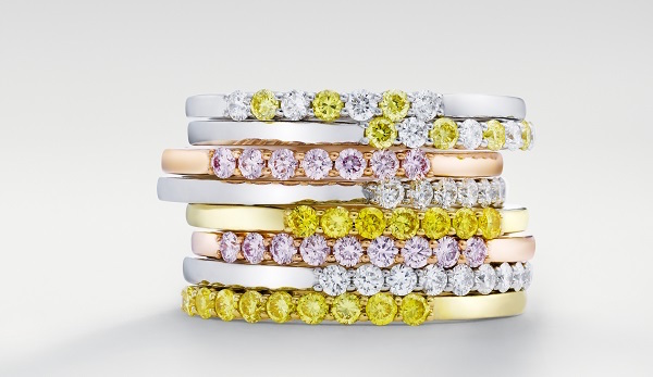 Stackable bands of pink, yellow and colorless diamonds from Leibish.com