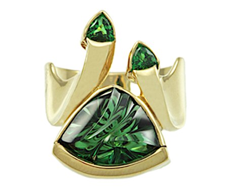 Tourmaline carving by Sherris Cottier Shank, designed by Christopher's Fine Jewelry