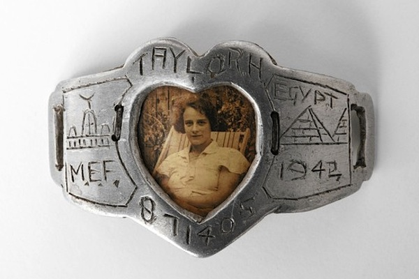 Trench Art Bracelet, c. 1942, of gelatin silver print, aluminum, transparent plastic (Giorgio Vigna Trench Art Collection, Milan)