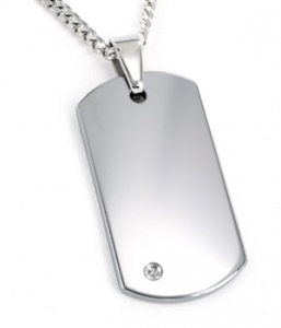 "Dog tag pendant of tungsten with .02ct diamond and 24"" chain, $107 (amazon.com)"