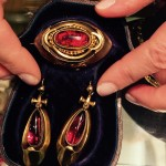 Victorian garnet brooch & earrings