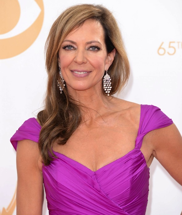 Allison Janney wearing diamond Rain earrings by Martin Katz at the 2013 Emmy Awards