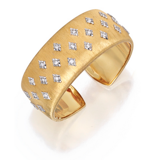 Buccellati diamond-set gold cuff