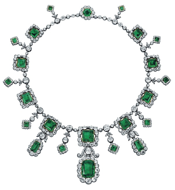 Hélène d'Orléans emerald and diamond necklace (Christie's Images)