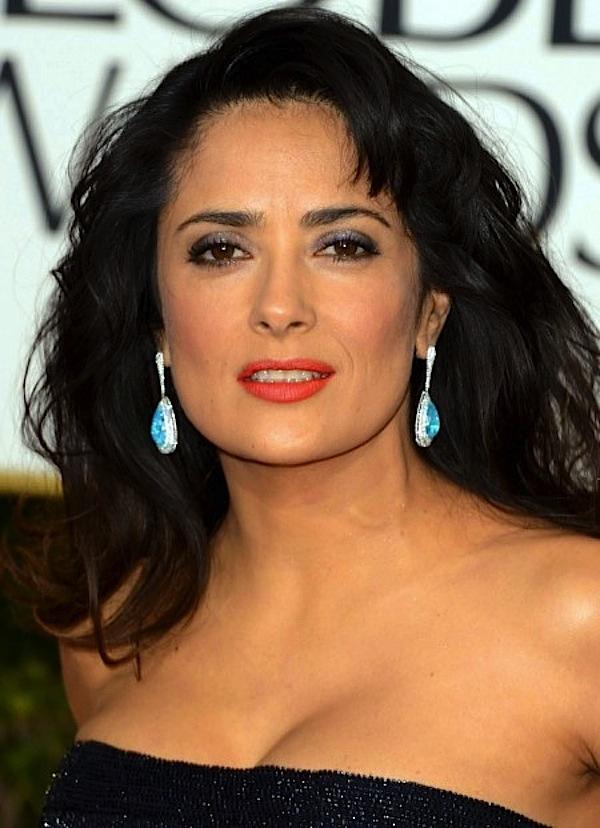 Salma Hayek wearing Martin Katz earrings at Golden Globe Awards 2013