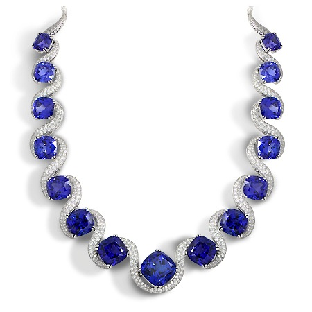 Tanzanite diamond collar necklace by Wixon Jewelers
